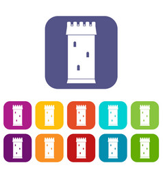 Fortress tower icons set flat vector