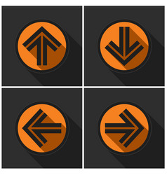 Four orange round with black arrows and shadows vector