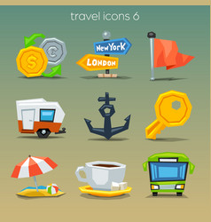 Funny travel icons-set 6 vector