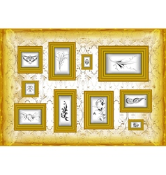 Golden frames with floral ornament vector image vector image