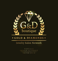 golden retro badge with crystal vector image