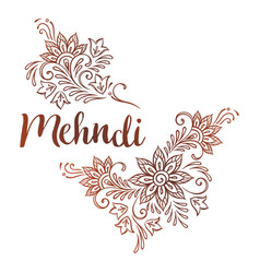Hand drawn template for mehndi ornate ethnic vector
