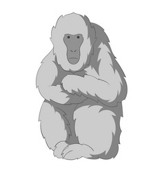 Japanese macaque icon monochrome vector