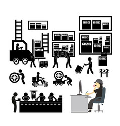 Manufacturer and distributor icon for business vector