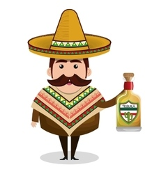 mexican man comic character vector image