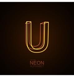 Neon 3D letter U vector image vector image