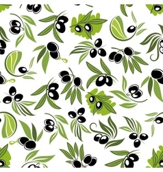 Olive fruits on branches seamless pattern vector