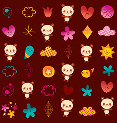 panda bears flowers hearts diamonds vector image
