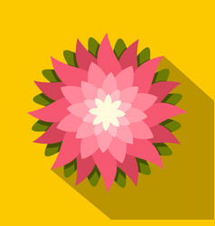 Pink lotus flower icon flat style vector
