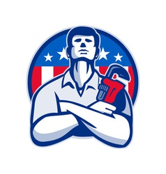 Plumber with monkey wrench american flag retro vector