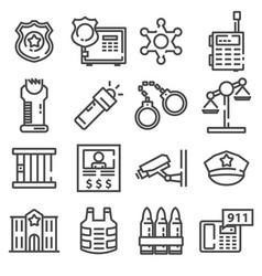 police line icon set vector image