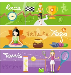 Race yoga and tennis concept vector image