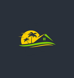 resort beach house travel logo vector image vector image
