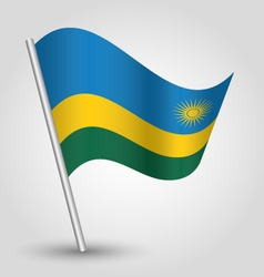 rwandan flag on pole vector image vector image