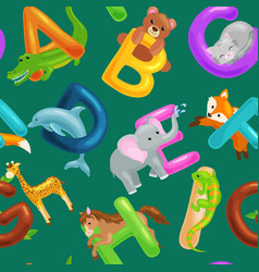 set of animals alphabet for kids fish letters vector image