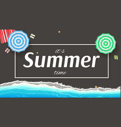 Summer background banner with seashore sun vector