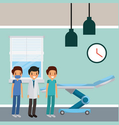Three doctors male in hospital room wheel bed vector