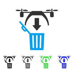 Trash drone flat icon vector