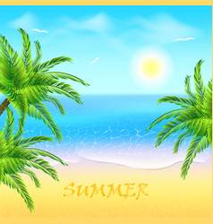 Tropical beach with coconut palm and sea sunset vector