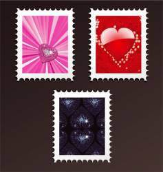 valentine postage stamps vector image vector image