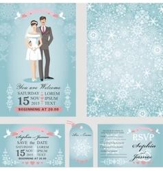Wedding invitation setBridegroomWinter season vector image