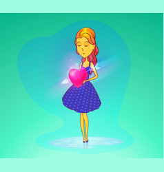 woman in love or girl holding heart vector image vector image