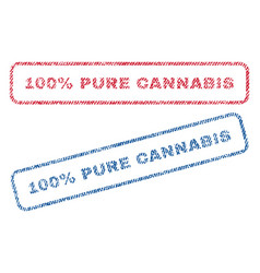 100 percent pure cannabis textile stamps vector