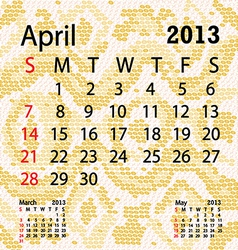 April 2013 calendar albino snake skin vector