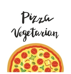 Vegetarian pizza and hand vector