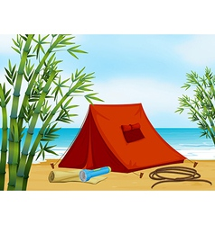 Camping at the beach vector