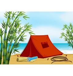 Camping at the beach vector image