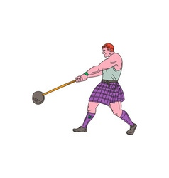 Weight throw highland games athlete drawing vector