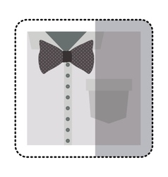 Sticker close up formal shirt with bow tie vector