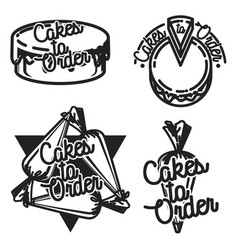 Color vintage cakes to order emblems vector