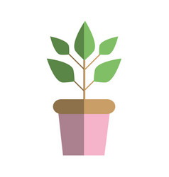 Plant inside flowerpot to ecology preservation vector