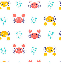 Seamless pattern crab vector