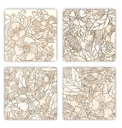 Hand drawn pattern card set with art flowers and vector image