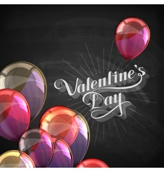 Valentines day retro label on the blackboard vector