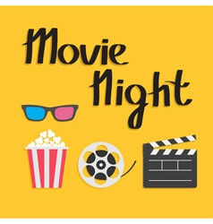 3d glasses popcorn movie reel open clapper board vector