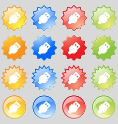 USB icon sign Set from sixteen multi-colored glass vector image