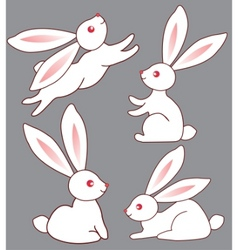 Four bunnies for design vector