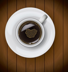 Coffee cup on plate realistic on wood background vector