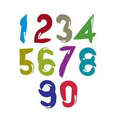 Colorful doodle brush numbers hand-painted bright vector