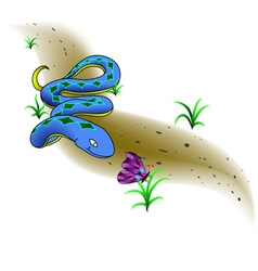 Beautiful snake and butterfly vector