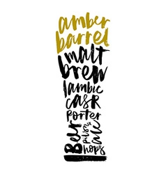 Beer print for bar restaurant calligraphy vector