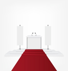 Podium with red carpet for award ceremony and flag vector