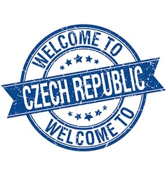 Welcome to czech republic blue round ribbon stamp vector