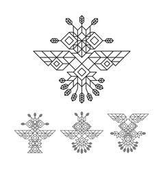 Tribal owl symbol ornate owl symbol line art vector