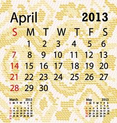 April 2013 calendar albino snake skin vector
