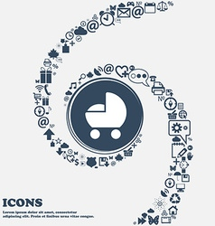 baby pram icon in the center Around the many vector image